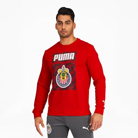 Chivas ftblCore Men's Graphic Crewneck Sweatshirt, Puma Red, small