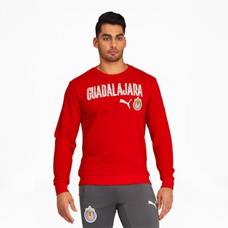 Chivas ftblCore Men's Wording Crewneck Sweatshirt, Puma Red, small
