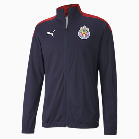 Chivas Stadium Men's Football Jacket, Peacoat-Puma Red, small