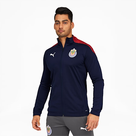 Chivas Men's Stadium Jacket, Peacoat-Puma Red, small