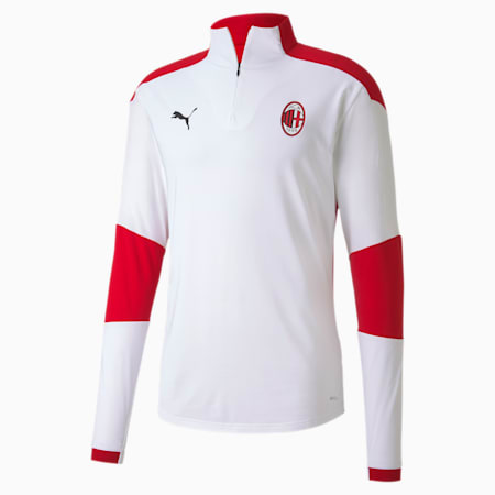 AC Milan Men's Quarter Zip Training Top, Puma White-Tango Red, small