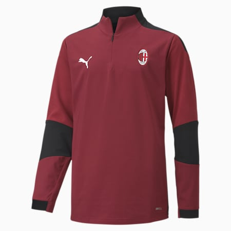 Młodzieżowa bluza treningowa AC Milan z zamkiem 1/4, Cordovan-Puma Black, small
