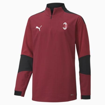 Maglia da training AC Milan con zip corta da ragazzo, Cordovan-Puma Black, small