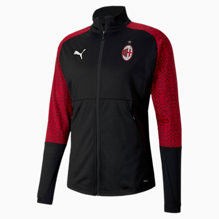 AC Milan Home Stadium Men's Football Jacket, Puma Black-Tango Red, small
