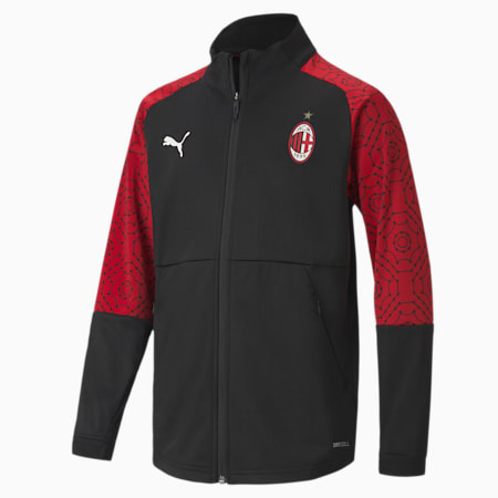 AC Milan Home Stadium Youth Football Jacket, Puma Black-Tango Red, small