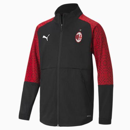 Młodzieżowa domowa stadionowa kurtka piłkarska AC Milan, Puma Black-Tango Red, small