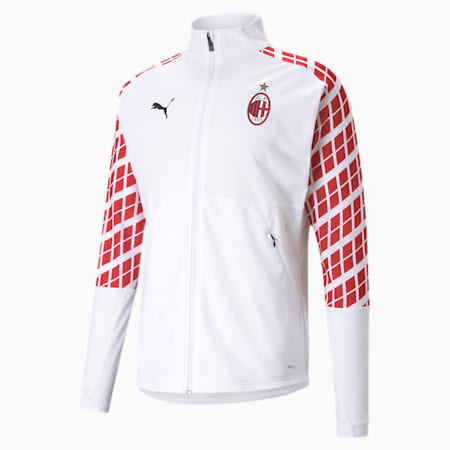AC Milan Men's Away Stadium Jacket, Puma White-Tango Red, small