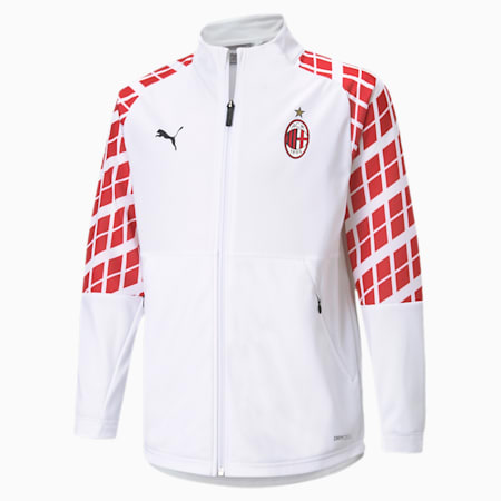 AC Milan Away Stadium Youth Football Jacket, Puma White-Tango Red, small