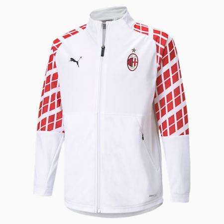 Młodzieżowa stadionowa wyjazdowa kurtka piłkarska AC Milan, Puma White-Tango Red, small