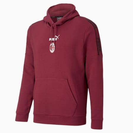 Męska piłkarska bluza z kapturem AC Milan ftblCulture II, Cordovan-Puma Black, small