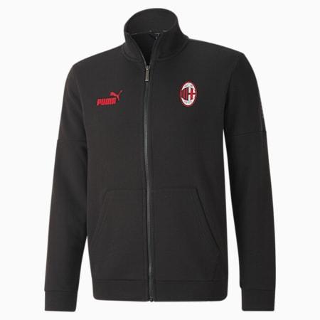 AC Milan ftblCulture Men's Football Track Jacket, Puma Black-Tango Red, small-IND