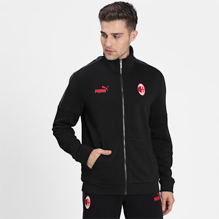 AC Milan ftblCulture Men's Track Jacket, Puma Black-Tango Red, small