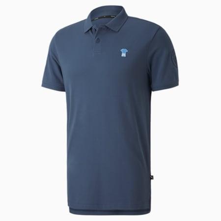 Man City ftblFEAT Game Men's Football Polo Shirt, Dark Denim, small-SEA