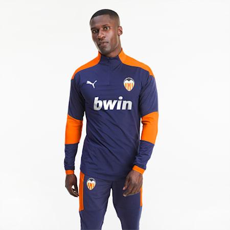 Valencia CF Quarter-Zip Men's Training Top, Peacoat-Vibrant Orange, small