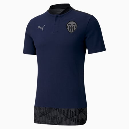 Valencia CF Casuals Men's Football Polo Shirt, Peacoat-Smoked Pearl, small