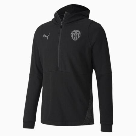 Sudadera con capucha de fútbol Valencia CF Casuals para hombre, Puma Black-Smoked Pearl, small