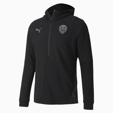 Valencia CF Casuals Men's Football Hoodie, Puma Black-Smoked Pearl, small