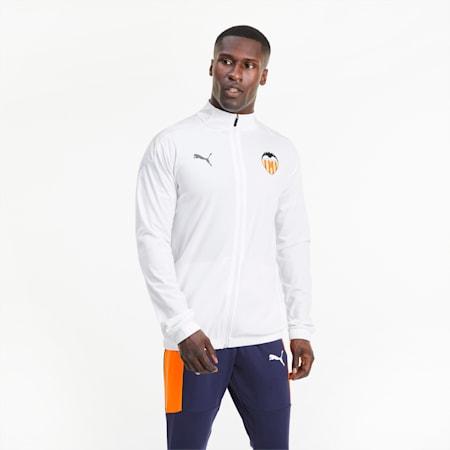 Valencia CF Stadium Men's Football Jacket, Puma White-Asphalt, small