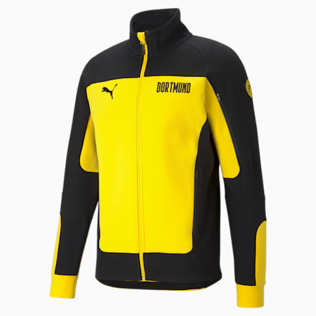 BVB Evostripe Men's Football Jacket, Cyber Yellow-Puma Black, small-GBR