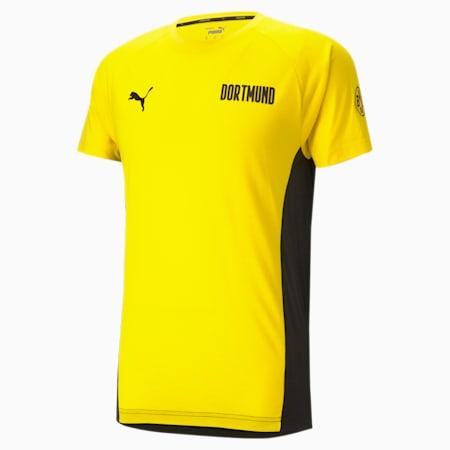 Męski T-shirt piłkarski BVB Evostripe, Cyber Yellow-Puma Black, small