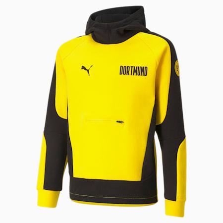 Sweat de football à capuche BVB Evostripe enfant et adolescent, Cyber Yellow-Puma Black, small