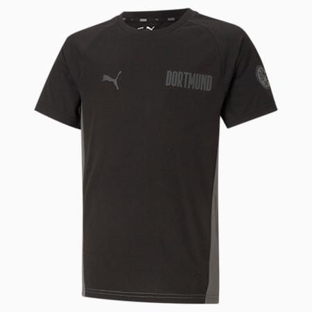 T-shirt de football BVB Evostripe enfant et adolescent, Puma Black-CASTLEROCK, small