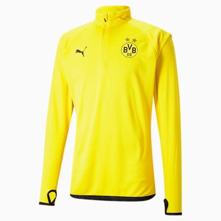 Męska bluza piłkarska BVB Warm-Up Midlayer, Cyber Yellow-Puma Black, small