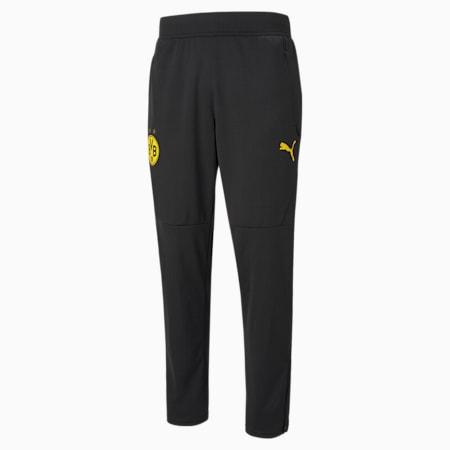 Pantalon d'échauffement de football BVB homme, Puma Black-Cyber Yellow, small