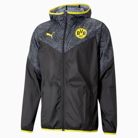 Męska kurtka piłkarska BVB Warm-Up, Puma Black-Cyber Yellow, small