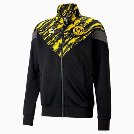 Chaqueta deportiva BVBIconic MCS para hombre, Puma Black-Cyber Yellow, pequeño