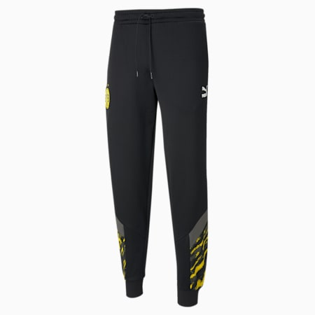 BVB Iconic MCS Men's Football Track Pants, Puma Black-Cyber Yellow, small