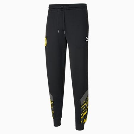 Pantalon de survêtement de football BVB Iconic MCS homme, Puma Black-Cyber Yellow, small
