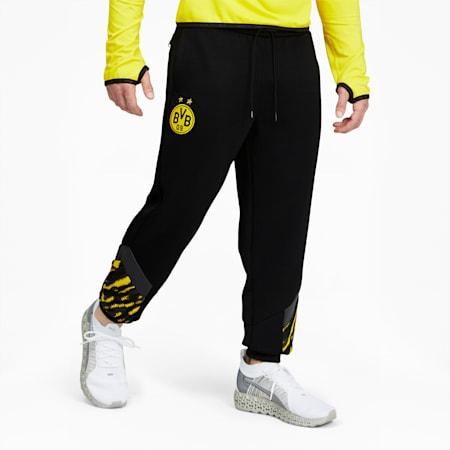 Pantalones deportivos BVBIconic MCS para hombre, Puma Black-Cyber Yellow, pequeño
