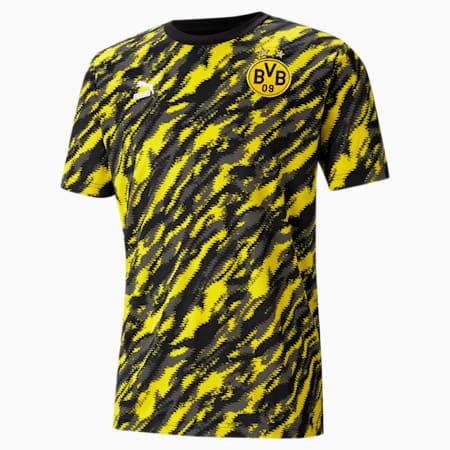 BVB Iconic MCS Graphic Men's Football Tee, Puma Black-Cyber Yellow, small
