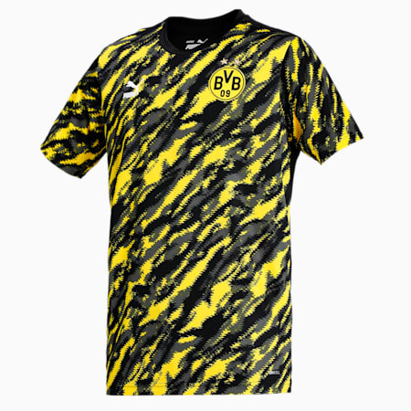 BVB Iconic MCS Graphic Men's Football  T-shirt, Puma Black-Cyber Yellow, small-IND