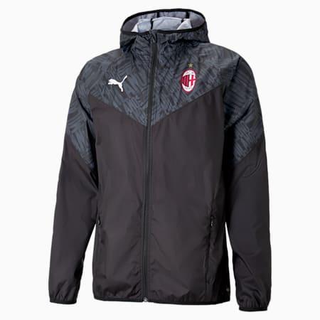 Chaqueta para calentamiento AC Milanpara hombre, Puma Black-Tango Red, pequeño