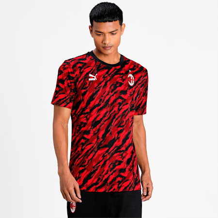 ACM Iconic Graphic Men's Football  T-shirt, Tango Red -Puma Black, small-IND