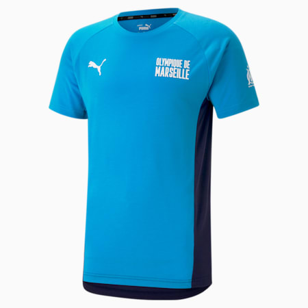 OM Evostripe Men's Football Tee, Bleu Azur-Peacoat, small
