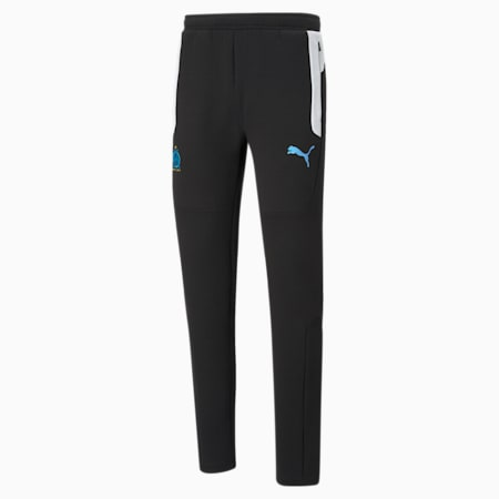 OM Evostripe Men's Football Pants, Cotton Black-Puma White, small