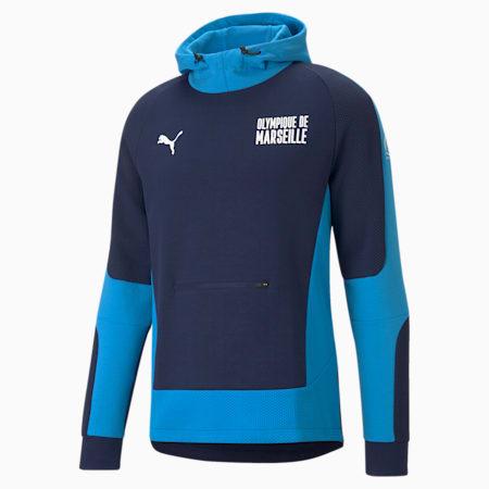 OM Evostripe Men's Football Hoodie, Peacoat-Bleu Azur, small-GBR
