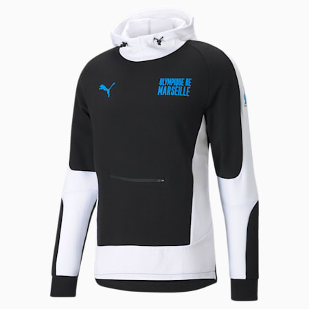 OM Evostripe Men's Football Hoodie, Cotton Black-Puma White, small-GBR
