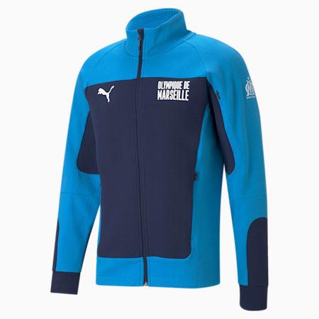 OM Evostripe Men's Football Jacket, Peacoat-Bleu Azur, small-GBR