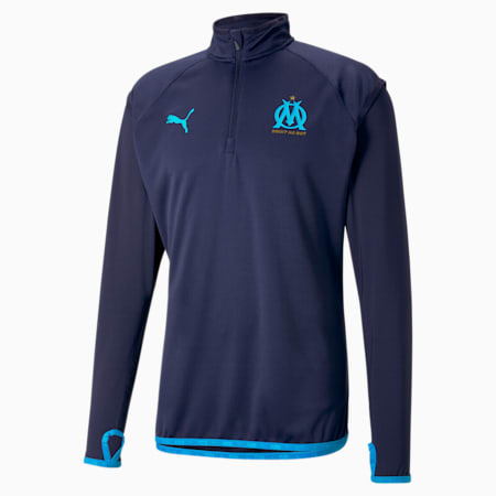 OM Warm-Up Herren Fußball-Midlayer, Peacoat-Bleu Azur, small