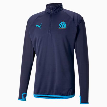 Vêtement intermédiaire d'échauffement de football OM homme, Peacoat-Bleu Azur, small