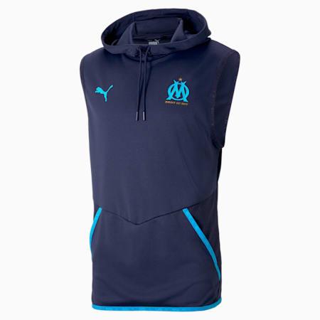 Męska bluza piłkarska z kapturem bez rękawów OM Warm-Up, Peacoat-Bleu Azur, small