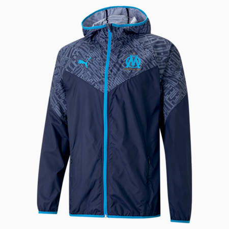 Chaqueta de fútbol para calentamiento del OM para hombre, Peacoat-Bleu Azur, small