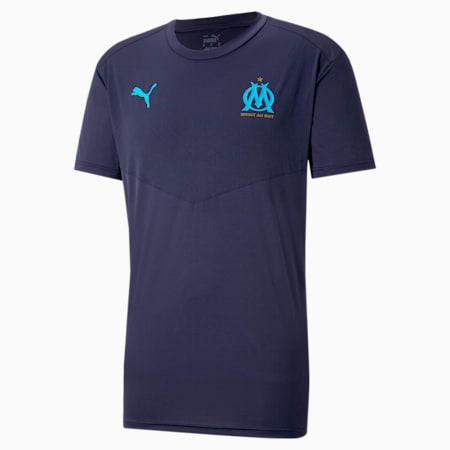 T-shirt da calcio per riscaldamento OM uomo, Peacoat-Bleu Azur, small