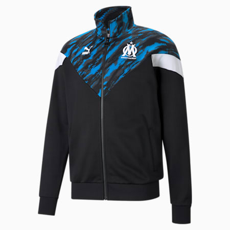 OM Iconic MCS Men's Football Track Jacket, Puma Black-Puma White, small-GBR