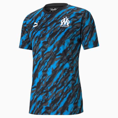 Camiseta de fútbol con estampado gráfico Iconic MCS del OM para hombre, Puma Black-Puma White, small