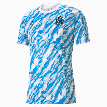 Męski T-shirt piłkarski z grafiką OM Iconic MCS, Puma White-Puma Black, small